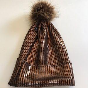 Pom Pom metallic hat/beanie in bronze NWT